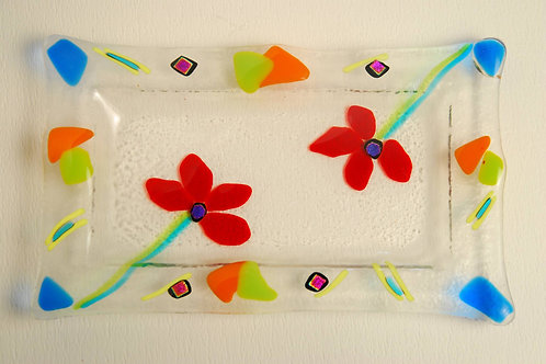 Small Rectangular plate with  flowers.