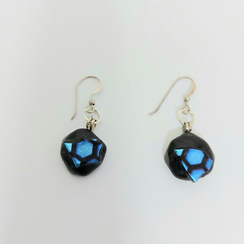 Black and Blue Circular Earrings