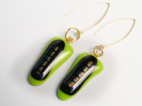 Black and green earrings