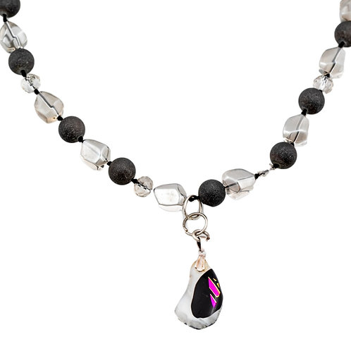 White and  black and purple bead necklace