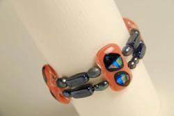 PInk Bracelet with  Black Pearls
