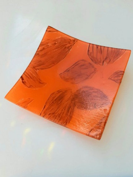 Small Orange leaf design plate