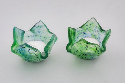 Green Floral Shaped Candle Holder set