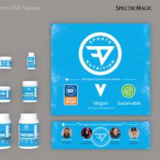 GNC retail product display graphics.