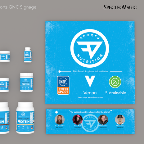 GNC retail product display graphics.