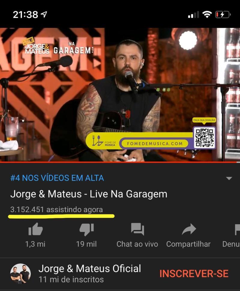 Live Jorge e Matheus - Record Mundial YouTube