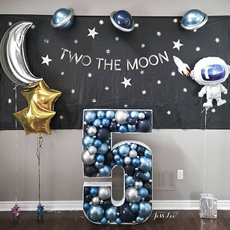 Blues and silver 5 balloon mosaic for a 5th birthday