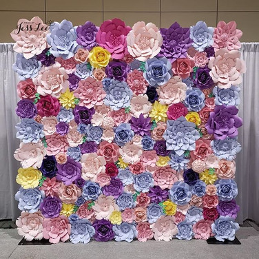 Spring theme paper flower wall