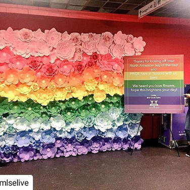 Rainbow paper flower wall
