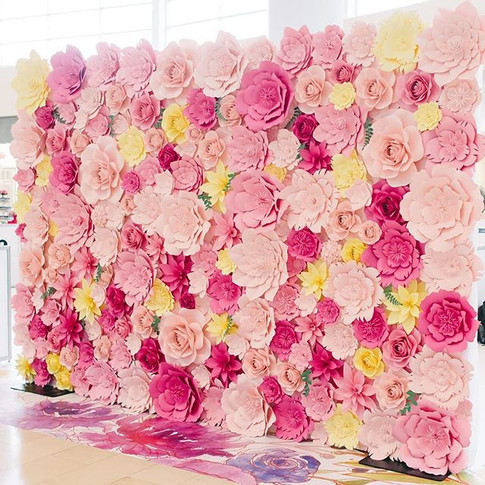 Paper flower wall for Mother's Day