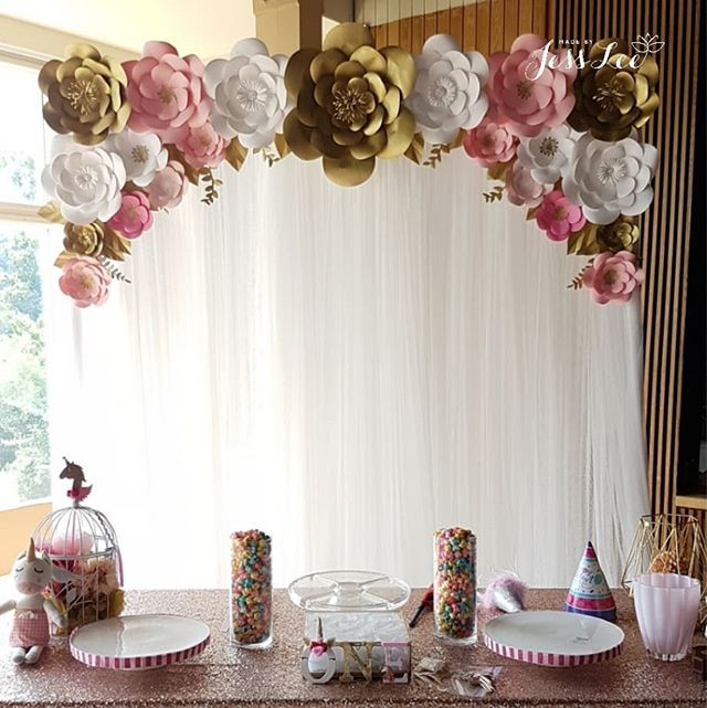 Pink White And Gold Paper Flower Backdrop