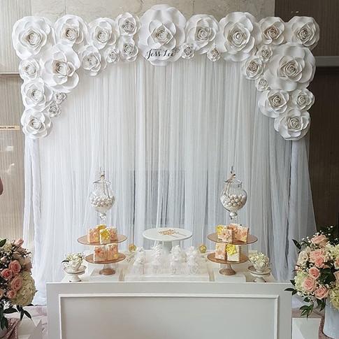 White paper rose bridal shower