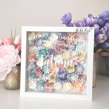 Paper floral shadow box