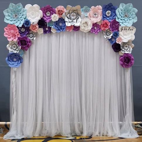 Vibrant paper flower backdrop