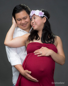 Pre-Maternity Studio Photography Grey Background - Sydney