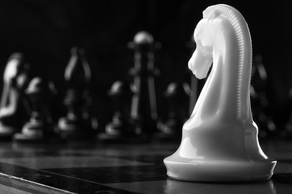 white knight chess piece on the board ba