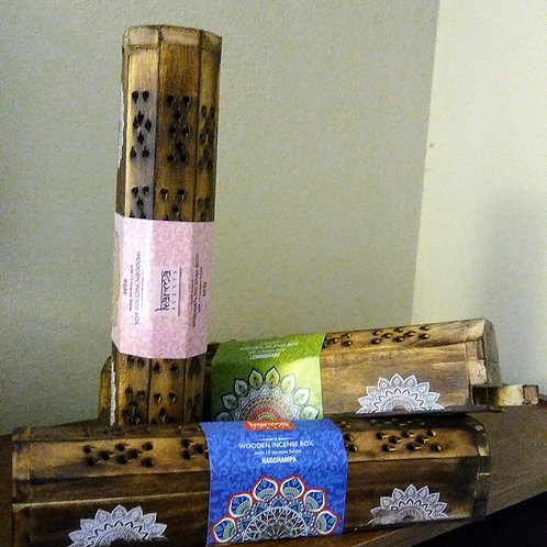 Wooden Incense Box w/Incense and Prayer Package