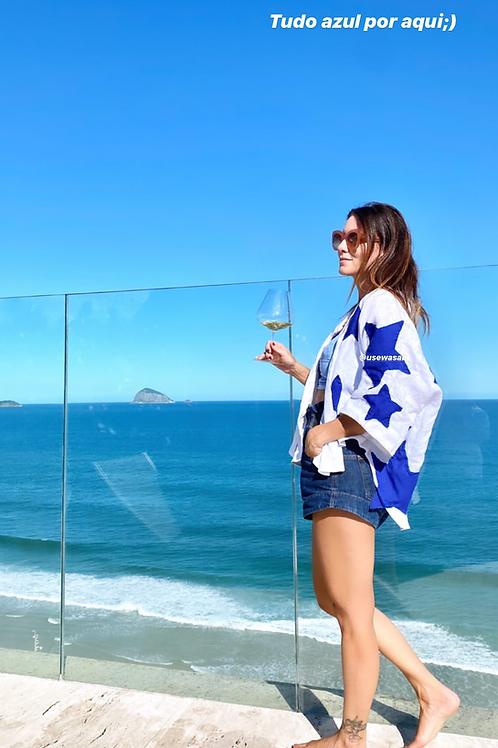 Kimono Linho Bordado Estrela Azul