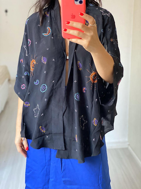 Kimono Constelação Seda Bordado