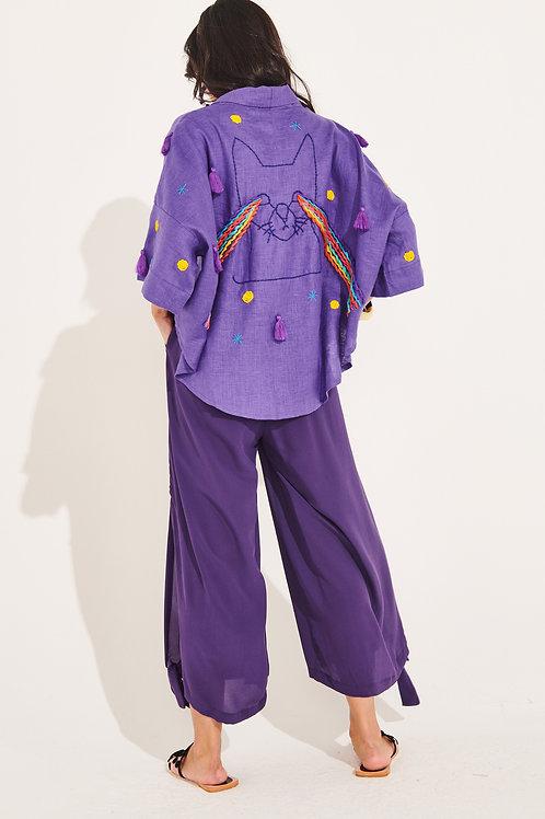 Kimono de linho bordado Gato