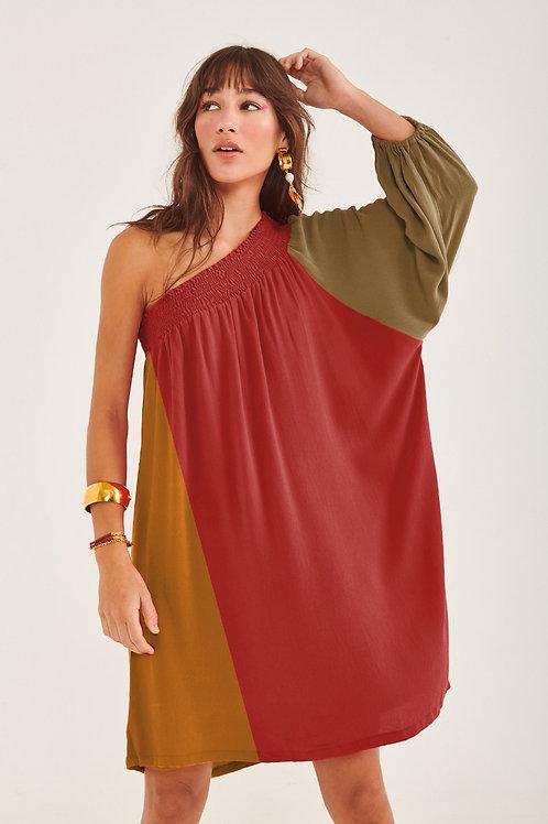 Vestido Deusa Curto Bicolor