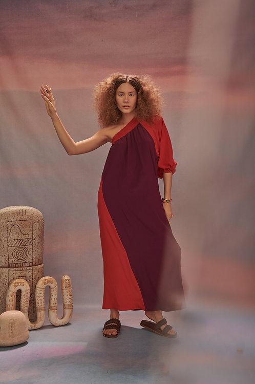 Vestido Deusa Seda Vinho/Vermelho