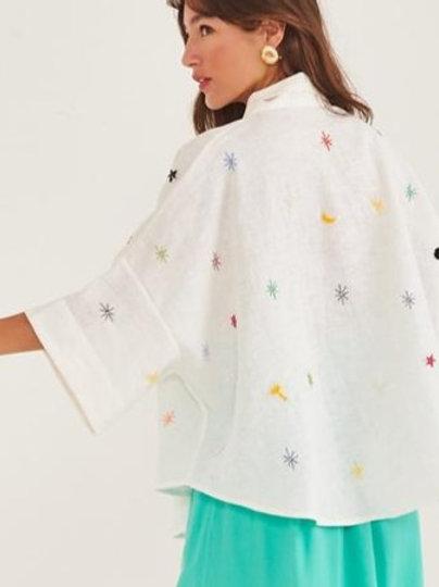 Kimono de linho Bordado Acetato