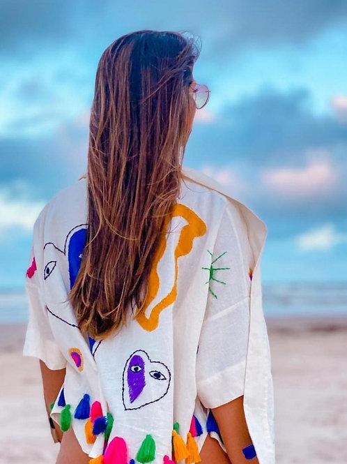 Kimono de linho bordado Coração Azul