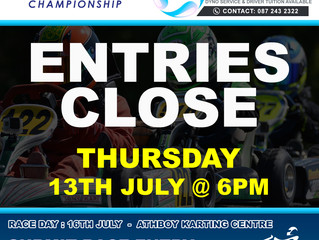 Entries close this Thursday, 13th July for Round 5