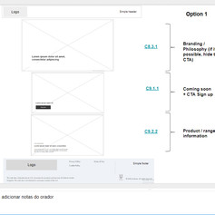 Wireframe documentation for cosmetic holding page for CUBO CC