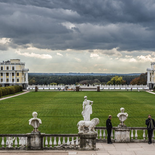 Архангельское, вид с террас перед дворцом A view from the terraces in front of the palace in Arkhangelskoye manor near Moscow