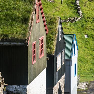 Традиционные фарерские дома, деревня Мичинес Traditional Faroese houses in Mykines village