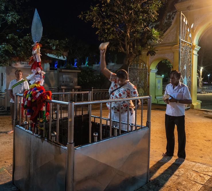 "Обряд разбивания кокоса – духовная практика и в буддизме, и в индуизме. Около храмов обычно есть специальные камни, часто в огороженных углублениях. Верующий берет сухой кокос, держит его в руках, иногда предварительно поджигая скорлупу, и, читая молитву, внутренне концентрирует свои мысли на чем-то главном для него –""загадывает сокровенное желание"". Через минуту-другую, когда вся энергия вложена, надо резко бросить кокос на камень – если кокос разбивается, боги услышали тебя и желание исполнится, если нет – все плохо...  Coconut smashing is a ritual practice among both buddhist and hindu devotees. Usually there are special stones near temples, often fenced by railings – supplicants bring dry coconuts, sometimes setting fire on the coconut first, then holding it aloft while saying a prayer and making wishes. After a minute or two, the cocnut is thrown down in an attempt to smash it against the stone. If the attempt is succesfull, you are heard by gods and you wish should come true; unsuccessful attempts are considered inauspicious and promise a bad luck, that's why the ritual is performed with extreme concentration and determination."