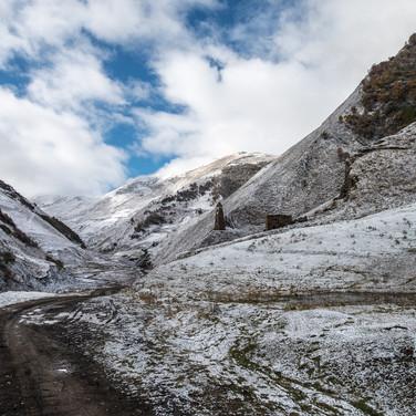 Морозное октябрьское утро в Аргунском ущелье Frosty October morning in Argun valley