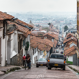 Старый город Боготы, называющийся Ля-Канделария The old town of Bogotá called La Candelaria