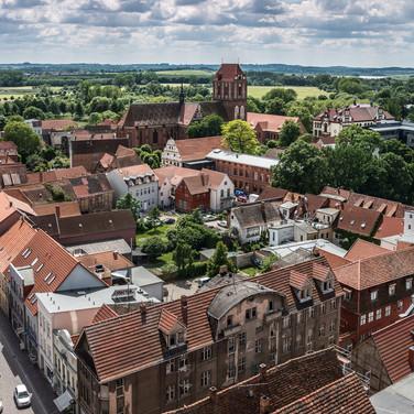 Вид с башни Мариенкирхе, Гюстров A view from the tower of St Mary's Church, Güstrow