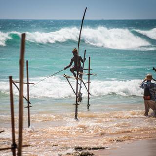 Знаменитые рыбаки на шестах (stilt fishermen), промышляющие таким оригинальным и живописным образом в волнах прибоя на южном берегу Шри-Ланки, ловят рыбу в сезон, длящийся с мая по декабрь. В феврале же, когда я посетил эти края, они теперь (после того, как Steve McCurry сделал их известными всему миру) ловят вместо рыбы туристов, желающих сфотографировать это самобытное зрелище. Стоит недорого, но фотографировать театральную постановку никакого желания не было. Зато получилось заснять вот такую чужую постановочную фотосессию ))  Renowned stilt fishermen do their picturesque job only from May to December, and February, when I visited the south coast of Sri Lanka, was offseason during which they now catch tourists instead of fish: arranging a few guys to sit on stilts and play a bit of performance costs a few dollars but I was not happy with the idea to shoot a show; so I just walked along the beach, caught this staged photo session