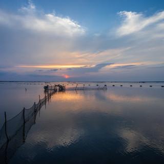 Закат над лагуной Джафны  Sunset over Jaffna Lagoon