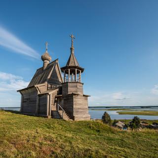 Часовня в Вершинино на берегу Кенозера, Архангельская область  Wooden chapel in Vershinino at the bank of Kenozero lake, Arkhangelsk region