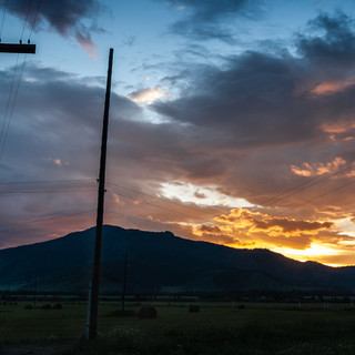 Закат по дороге в Усть-Коксу Sunset on the road to Ust Koksa village