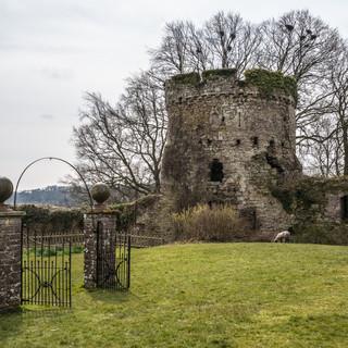 Внутренний двор и Гарнизонная башня замка Аск Inner ward and Garrison Tower of Usk Castle