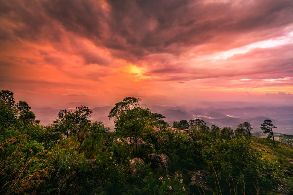Закат в горах Шри-Ланки  Sunset in Sri Lanka's hill country