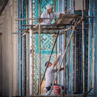 Реставрационные работы в мавзолейном комплексе Шахи-Зинда, Самарканд Restoration works in Shah-i-Zinda mausoleum complex