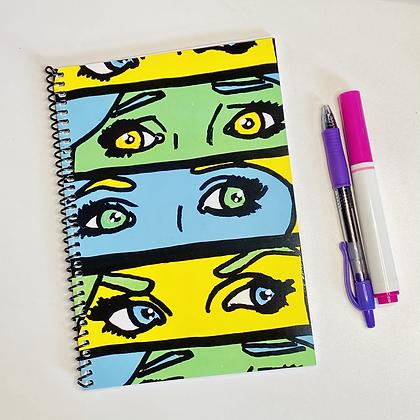 of Pop Art Eyes (Green) Small Spiral Notebook