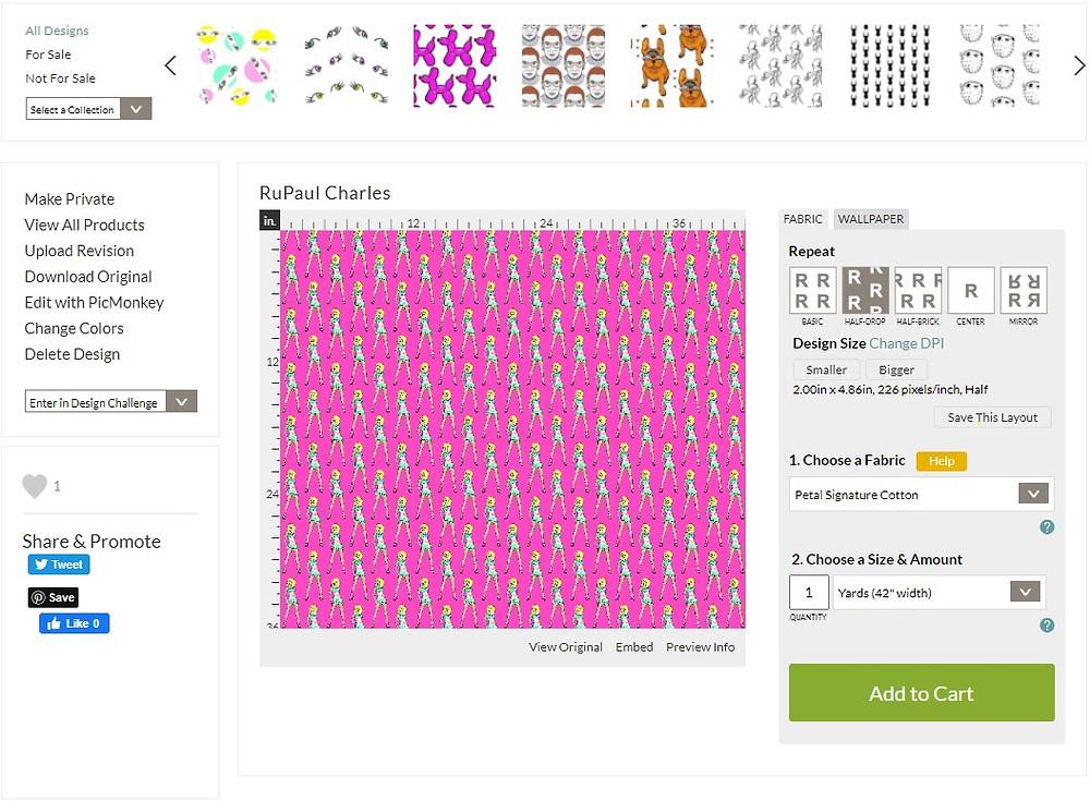 Rupaul Charles design adjust screen on Spoonflower