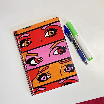 Pop Art Eyes (Red) Small Spiral Notebook