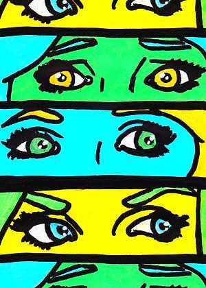 """Pop Art Girl Eyes (Green)"" Pop Art Print"