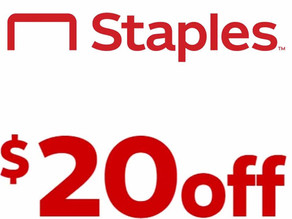 Staples $20 off your online order of $100 + Free Shipping