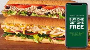 Subway Footlong Sandwich Buy 1 Get 1 Free!