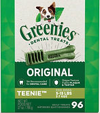 Greenies Original Teenie Natural Dental Dog Treats for Small Dogs 96- ct $10.06 (45% Off)